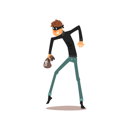 Male thief in mask with small money bag, robber cartoon character committing crime vector Illustration isolated on a white background. Çizim