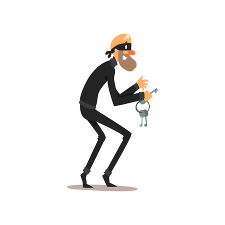 Male thief in mask with master keys, robber cartoon character committing crime vector Illustration isolated on a white background.