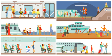 Persone nel set di trasporto pubblico, passeggeri della metropolitana, aereo, illustrazioni di vettore di nave da crociera Vettoriali