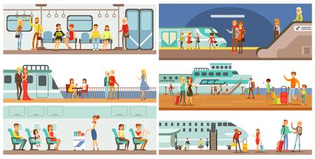 Personen im öffentlichen Verkehrsset, Passagiere der U-Bahn, Flugzeug, Kreuzfahrtschiffvektorillustrationen Vektorgrafik