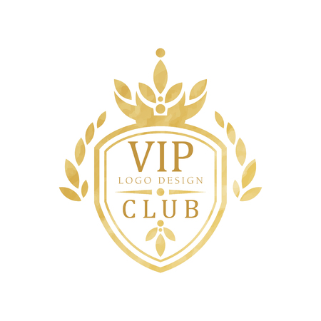 VIP club  design, luxury elegant golden badge with shield for boutique, restaurant, hotel, resort vector Illustration on a white background 向量圖像