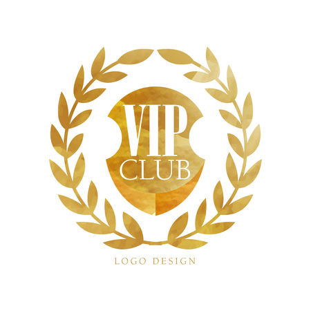 VIP club  design, luxury elegant golden badge with laurel wreath for boutique, restaurant, hotel, resort vector Illustration on a white background