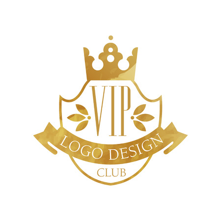 VIP club  design, luxury elegant golden badge with crown for boutique, restaurant, hotel, resort vector Illustration on a white background