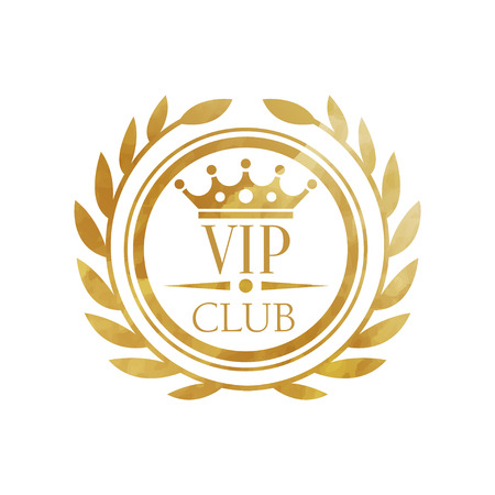 VIP club, luxury golden badge for club, resort, boutique, restaurant, hotel vector Illustration on a white background  イラスト・ベクター素材