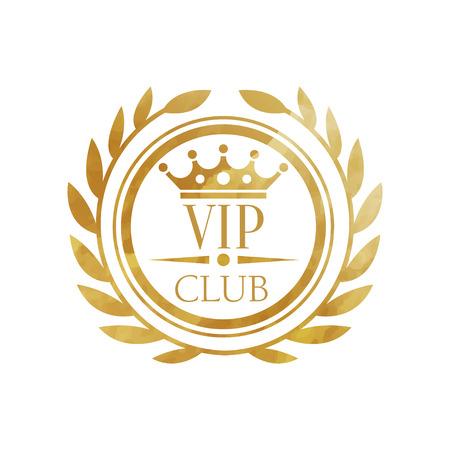 Club VIP, distintivo dorato di lusso per club, resort, boutique, ristorante, hotel vettoriale illustrazione su sfondo bianco Vettoriali