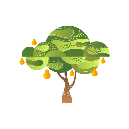Green tree with pear, garden plant with ripe fruits vector Illustration isolated on a white background.