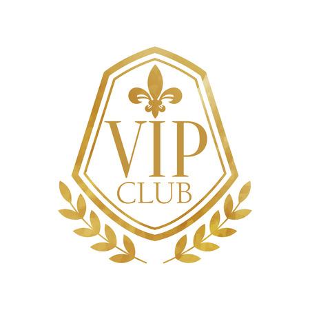 Club VIP, badge doré de luxe pour resort, boutique, restaurant, hôtel vector Illustration sur fond blanc Vecteurs