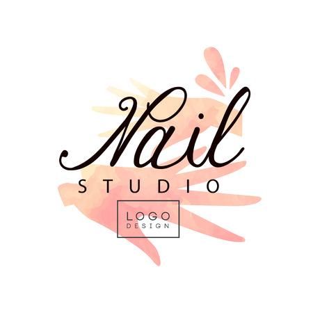 Nail studio design, modello creativo per nail bar, salone di bellezza, vettore tecnico estetista illustrazione su sfondo bianco