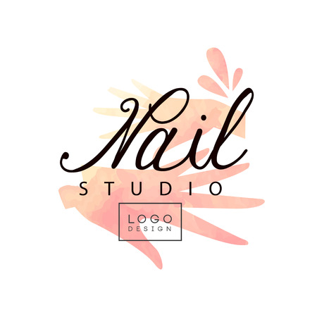 Nail studio  design, creative template for nail bar, beauty saloon, manicurist technician vector Illustration on a white background