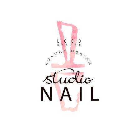 Nail studio luxury  design, template for nail bar, manicure saloon, manicurist technician vector Illustration on a white background Stock Illustratie
