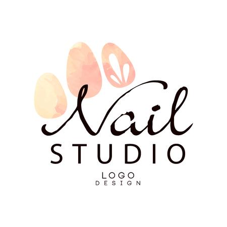 Nail studio, élément de conception pour bar à ongles, salon de manucure, vecteur de technicien manucure Illustration sur fond blanc