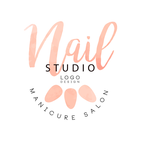 Nail studio, manicure saloon  design, creative template for nail bar, beauty studio, manicurist technician vector Illustration on a white background Stock Illustratie