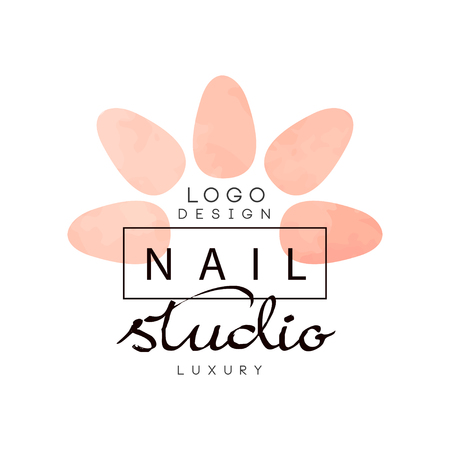 Nail luxury studio, design element for nail bar, manicure saloon, manicurist technician vector Illustration on a white background