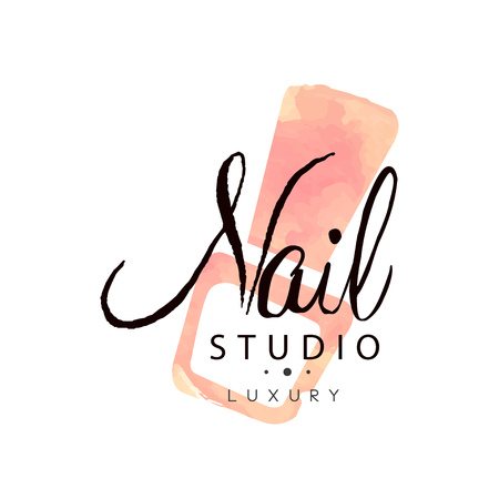 Nail studio luxury, design element for nail bar, manicure saloon, manicurist technician vector Illustration on a white background