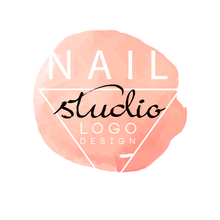 Nail studio, design element for nail bar, manicure saloon, manicurist technician vector Illustration on a white background