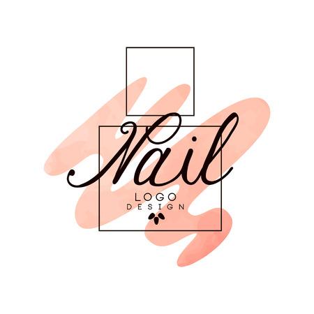 Nagel, ontwerpelement voor nagelstaaf, manicure studio, manicure technicus vector illustratie op een witte achtergrond