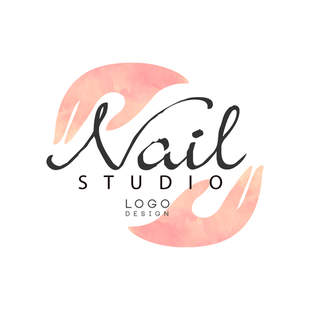 Nail studio, design element for nail bar, beauty saloon, manicurist technician vector Illustration on a white background 写真素材 - 107591035