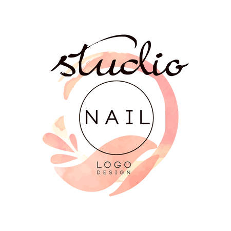 Nail studio, creative design element for nail bar, manicure saloon, manicurist technician vector Illustration on a white background Ilustracja
