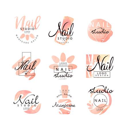 Manicure nagel studio ontwerpset, creatieve sjablonen voor nagel bar, schoonheidssalon, manicure technicus vector illustraties op een witte achtergrond