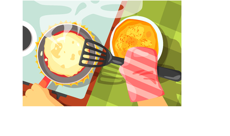 Pancakes Cooking Color Illustrations.Hands Working On Food Preparation View From Above Drawing. Flat Cartoon Style Vector Image. Illustration