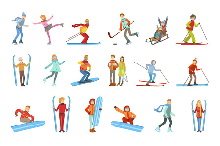 People And Winter Sports Illustrations Isolated On White Background. Simplified Cartoon Characters Set Banque d'images - 111914882