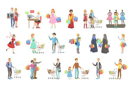 Ludzie robiący zakupy na ubrania i artykuły spożywcze jasny kolor kreskówka prosty styl płaski wektor zestaw naklejek na białym tle Ilustracje wektorowe