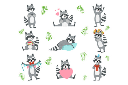 Cute Raccoon Character In Different Situations Set Vetores