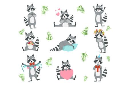 Lindo personaje de mapache en diferentes situaciones. Ilustración de vector