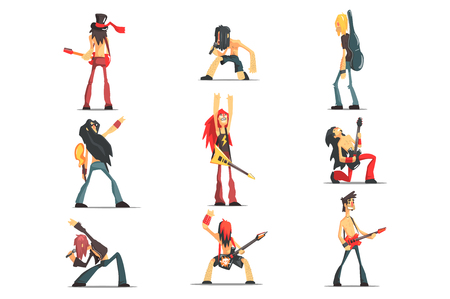 Rock Band Members Funny Characters Set Of Graphic Design Cool Geometric Style Isolated Drawings On White Background Illustration