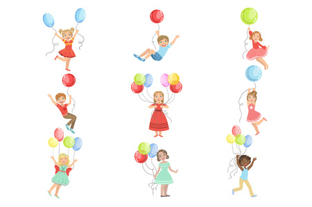 Kids With Party Balloons Set Of Simple Design Illustrations In Cute Fun Cartoon Style Isolated On White Background Ilustracja