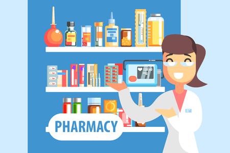Pharmacien femme démontrant l'assortiment de médicaments sur l'étagère de la pharmacie. Illustration vectorielle plane colorée et stylisée dans la conception de dessins animés géométriques stylisés Vecteurs
