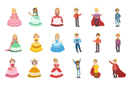 Little Girls Dressed and Little Boys Dressed As Fairy Tale Princes Stock Illustratie