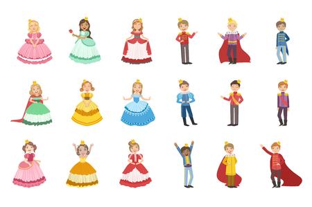 Niñas vestidas y niños pequeños vestidos como príncipes de cuento de hadas