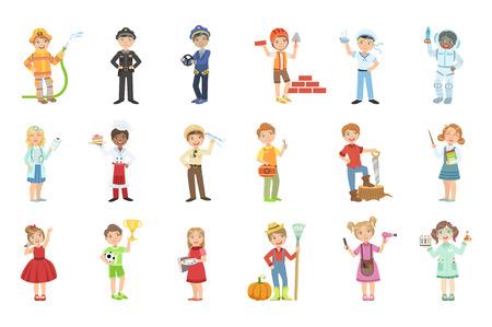 Bambini con le loro future professioni attributi di colore brillante fumetto semplice stile piatto vettoriale set di adesivi isolati su sfondo bianco