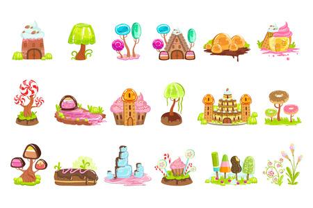 Bajkowe Elementy Krajobrazu Ze Słodyczy I Ciast Ilustracje wektorowe