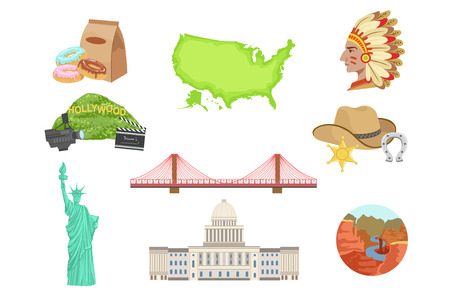 USA National Symbols Set Of Items. Isolated Objects Representing United States Of America  イラスト・ベクター素材