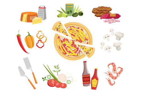 Pizza Ingredients And Cooking Utensils Set. Vector Illustration In Realistic Simplified Style. Isolated Objects On White Background.