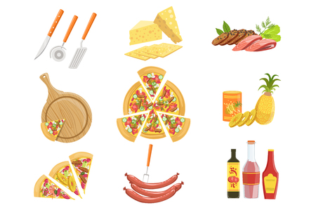 Pizza Ingredients And Cooking Utensils Collection. Vector Illustration In Realistic Simplified Style. Isolated Objects On White Background.  イラスト・ベクター素材
