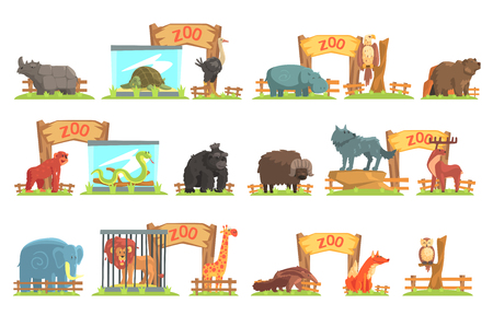Wild Animals Behind The Shed In Zoo Set. Colorful Illustration With Outdoors Zoo In Vector Funky Stylized Design