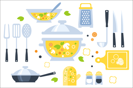 Soup Preparation Set Of Utensils Illustration. Flat Primitive Graphic Style Collection Of Cooking Items And Vegetables On White Background. Illustration