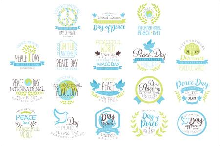 Journée internationale de la paix, ensemble de conceptions d'étiquettes aux couleurs pastel
