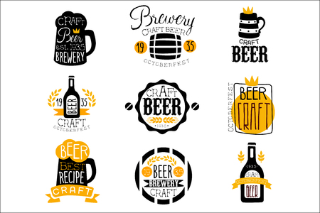 Craft Brewery Set Of Design Templates Ilustrace
