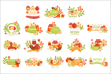 Rosh Hashanah Bright Postcard Labels Set Of Designs. Colorful Simple Holiday Collection With Traditional Symbols