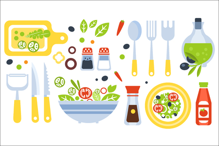 Salad Preparation Set Of Utensils Illustration. Flat Primitive Graphic Style Collection Of Cooking Items And Vegetables