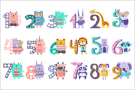 Funky Animals Standing Next To Digits Sticker Set. Stylized Colorful Flat Vector Illustrations For Kids On White Background, Illustration