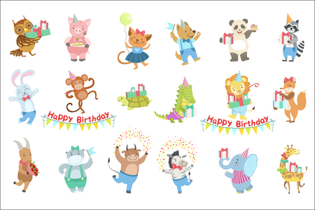 Humanized Animal Characters Attending Birthday Party Celebration Set. Childish Cartoon Style Animals Dressed In Human Clothes Vector Stickers Illusztráció