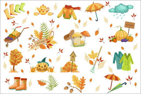 Set Of Associated With Autumn Objects. Seasonal Symbols In Cute Detailed Cartoon Style On White Background.
