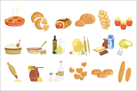 Bakery and pastry products icons set with various sorts of bread, sweet buns, cupcakes, dough and cakes for bakery shop or food 向量圖像