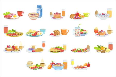 Diferentes juegos de comida y bebida para el desayuno. Colección de ilustraciones de platos de menú de la mañana en diseño vectorial simple detallado.