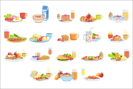 Different Breakfast Food And Drink Sets. Collection Of Morning Menu Plates Illustrations In Detailed Simple Vector Design.
